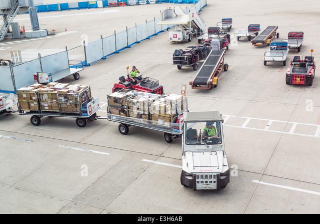 Aircraft baggage handling and loading - Stock Image