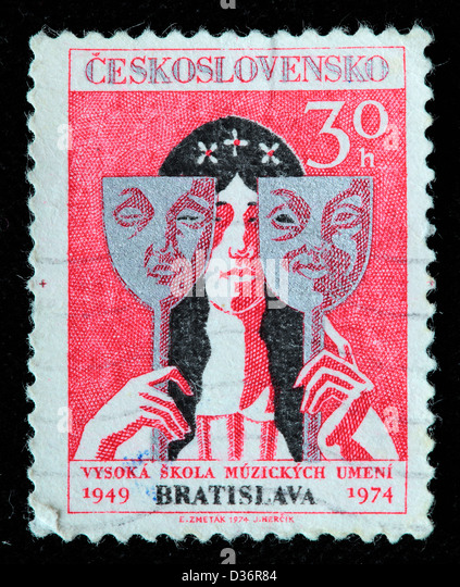 Actress with Tragedy and Comedy Masks, postage stamp, Czechoslovakia, 1974 - Stock-Bilder