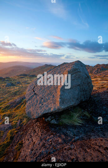 Autumn sunset on Slieve Foye, Carlingford, County Louth, Ireland. - Stock Image