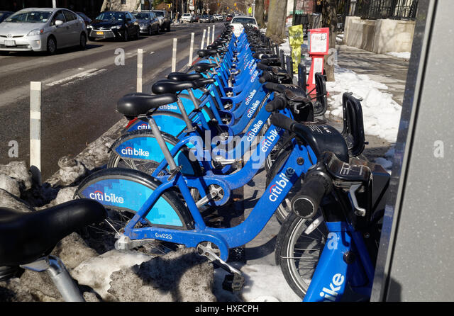 Citi bank bikes for rent in New York City - Stock Image