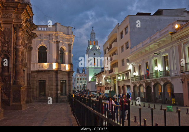 Nighttime street scene in front of La Compañía de Jesús church in the historical part of Quito, Ecuador. - Stock Image