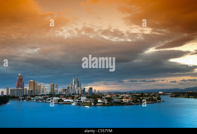 Panoramic view of a cityscape, Surfers Paradise, Gold Coast, Queensland, Australia - Stock-Bilder