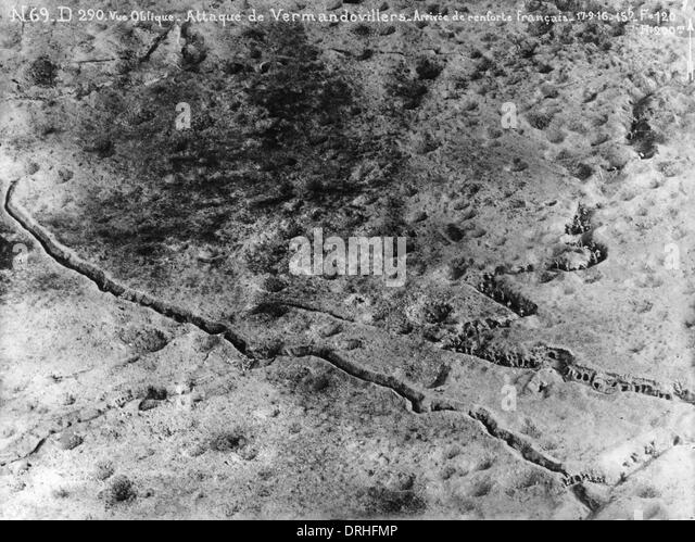 Aerial photograph of Vermandovillers, France, WW1 - Stock Image