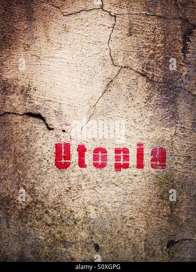 Utopia graffiti in Haggerston, London - Stock-Bilder
