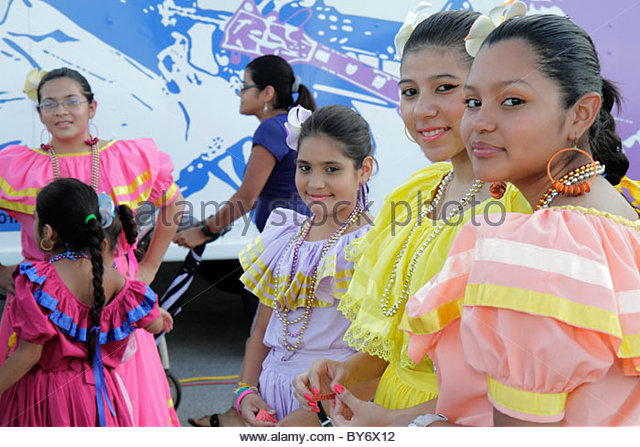 Miami Florida Arts in the Street Independence of Central America & Mexico Cultural Integration Day Hispanic - Stock Image