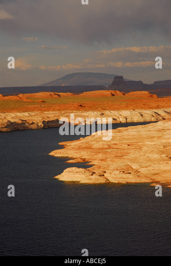 Arizona Lake Powell boating outdoor recreation red mesa desert background - Stock Image