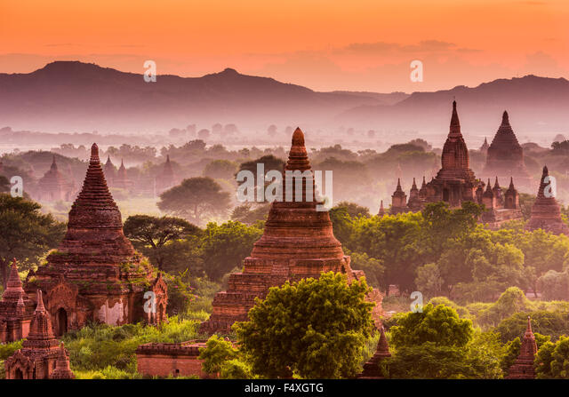 Bagan, Myanmar ancient temples at dusk. - Stock Image