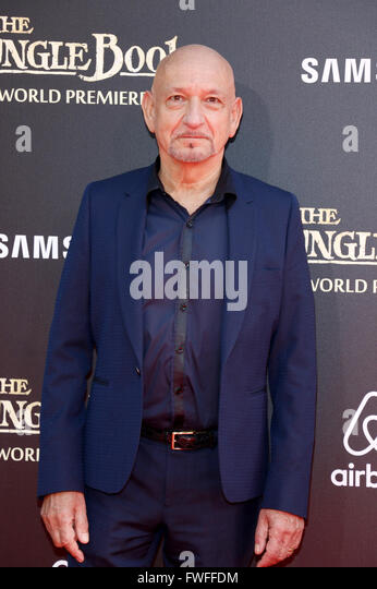 Los Angeles, California, USA. 4th April, 2016. Ben Kingsley at the World premiere of 'The Jungle Book' held - Stock Image