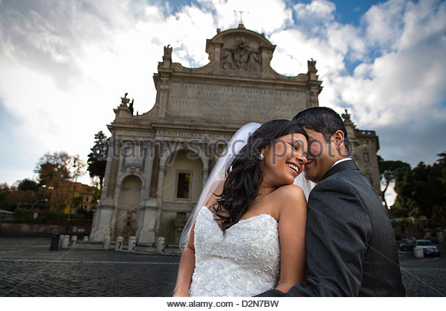 kissing love wedding kiss Gianicolo Rome Italy - Stock Image