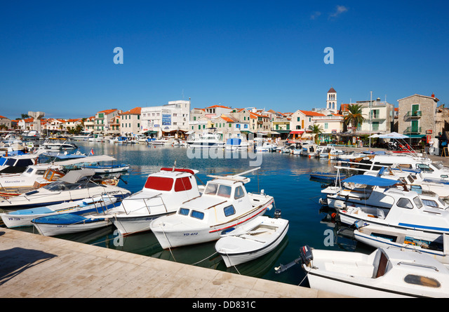 Vodice harbor in Croatia - Stock-Bilder