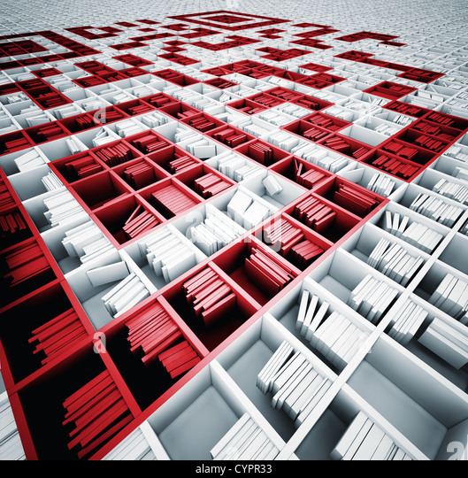 QR code in matrix of bookshelfs (illustrated concept) - Stock Image