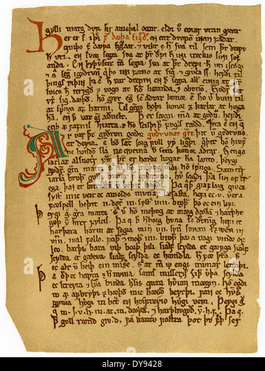 Facsimile of a page of the Cōdex Rēgius, an Icelandic manuscript of the Prose Edda, 14th century, - Stock Image