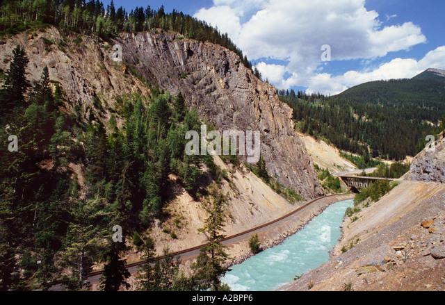 Alberta Canada British Columbia BC Banff National Park River Running by Kicking Horse Road - Stock Image