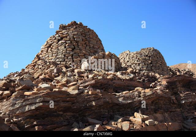 Die Bienenkorbgräber von Al-Ayn sind wegen ihres guten Erhaltungszustandes und der Lage am Rande des Jebel - Stock-Bilder
