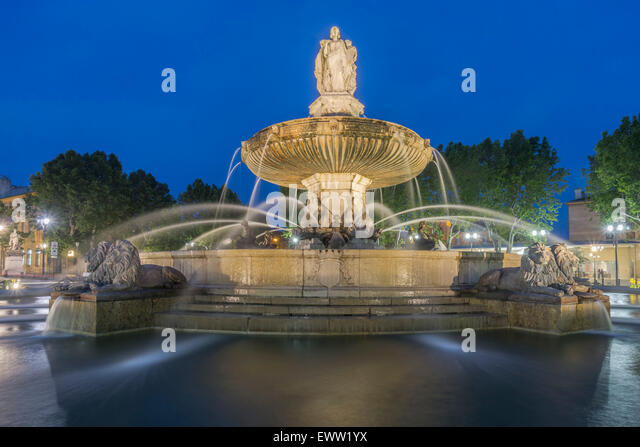 La Rotonde fountain - The central roundabout in Aix-en-Provence, France, - Stock Image