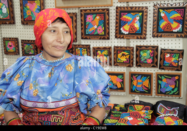 Panama City Panama Panama Viejo Ruinas Panama La Vieja handicrafts Kuna Indian mola shopping souvenirs display vendor - Stock Image