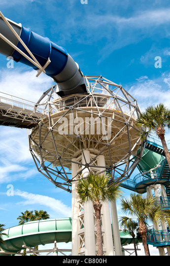 Wet 'n Wild water theme park flume ride exterior on International Drive I-Drive Orlando Florida - Stock Image
