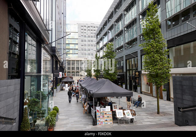 saturday artisan craft and food market on the avenue spinningfields Manchester England UK - Stock Image