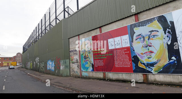 The Power of Integrating Education - Belfast International Peace Wall,Cupar way,West Belfast,NI,UK - Stock Image