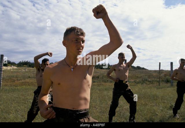 crimea the ukrainian national guard training camp sevastopol june 1994 - Stock Image