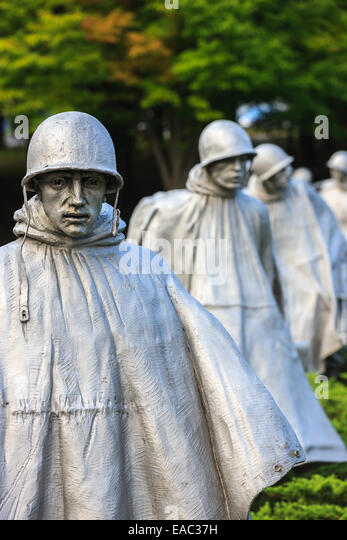 The Korean War Veterans Memorial is located in Washington, D.C.'s West Potomac Park, southeast of the Lincoln - Stock Image