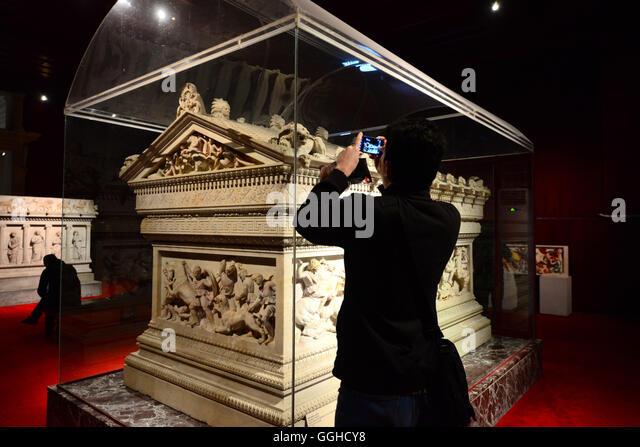 Alexander Sarcophagus, Archaeology Museum, Istanbul, Turkey - Stock Image