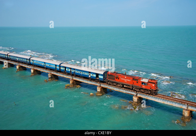 Train bridge to Rameswaram Island, Rameswaram, Tamil Nadu, India, Asia - Stock-Bilder