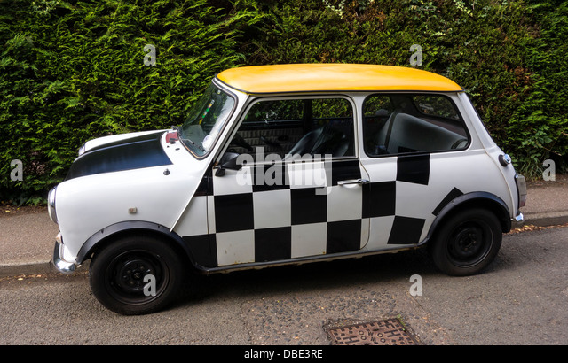Old original style Mini car personalised by owner - Stock Image