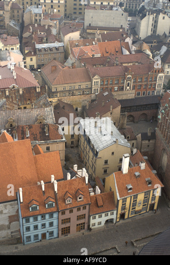Latvia Riga aerial city skyline historic buildings - Stock Image