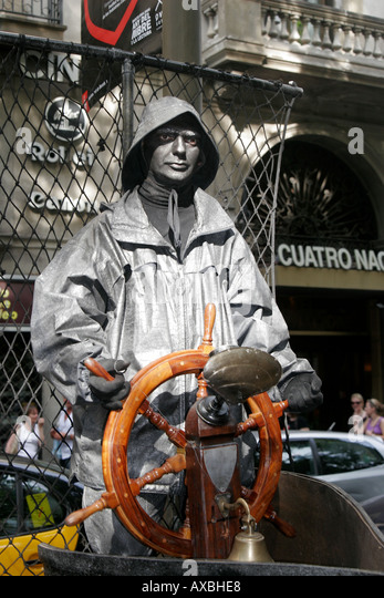 spain Barcelona ramblas street artists captain - Stock Image