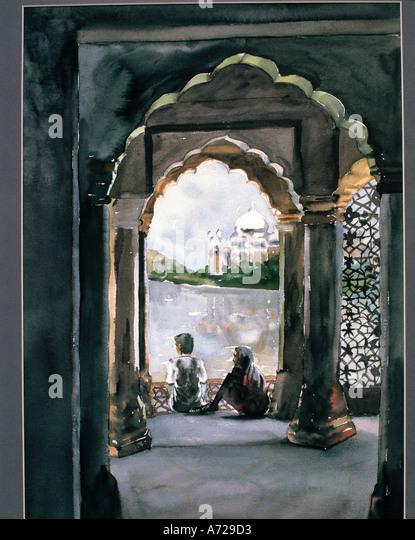 Watercolor of Taj Mahal in Agra in India - Stock-Bilder
