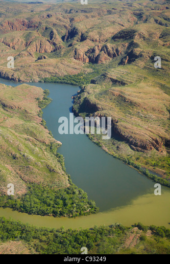 Convergence of Ord River and Lake Argyle overflow slipway channel, Kimberley Region, Western Australia, Australia - Stock Image