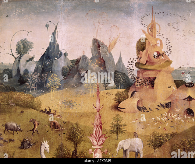'fine arts, Bosch, Hieronymus, (circa 1450 - 1516), painting, 'garden of earthly delights', left wing, - Stock Image