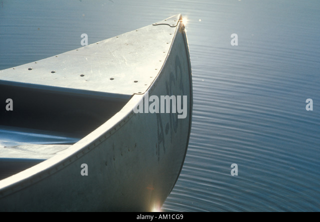 Detail of front of canoe on water Delaware River Calicoon NY - Stock Image