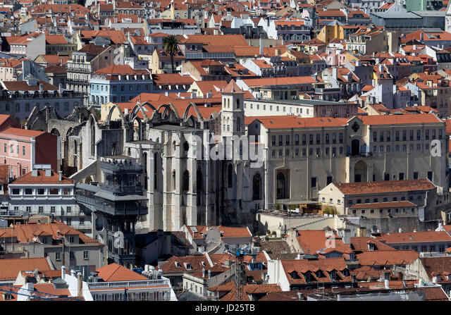 High level view over the rooftops the Bairro Alto and Estrela district of the city of Lisbon, Portugal.  Central - Stock Image
