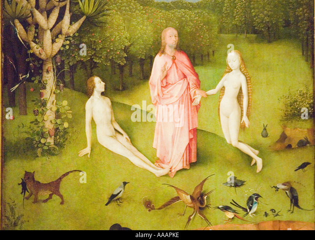 Adam and Eve depicted in The Garden of Earthly Delights painting by Hieronymus Bosch - Stock Image