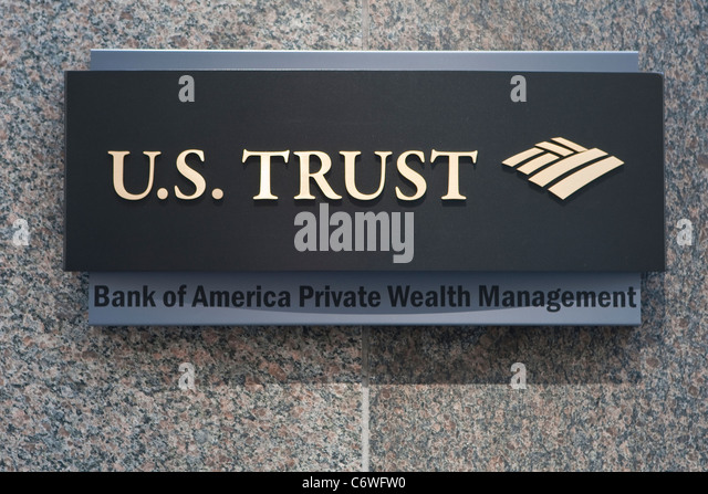 U.S. Trust Corporation office is pictured in the New York City borough of Manhattan, NY, Tuesday August 2, 2011. - Stock Image
