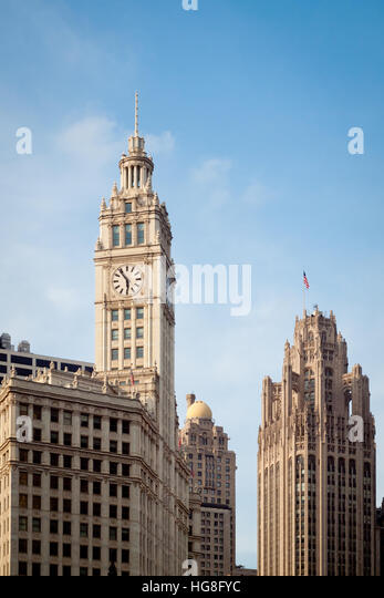 A view of the Wrigley Building (left), InterContinental Chicago [South Tower] (center), and Tribune Tower (right) - Stock Image
