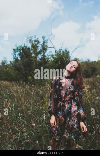 Russia, Girl (14-15) in long dress - Stock Image
