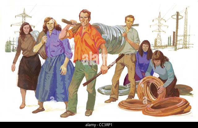 Albania, The Twentieth Century. The Start Of The Industrialization Process, The 60 - Coffee Painting - Stock Image