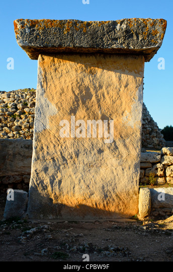 Taula de Trepucó, an enigmatic prehistoric monument on Menorca in the Balearic islands, Spain - Stock Image