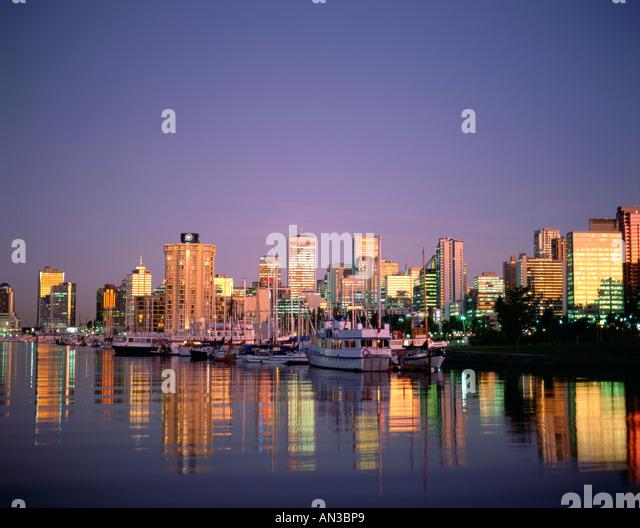 City Skyline & Waterfront / Night View, Vancouver, British Columbia, Canada - Stock Image