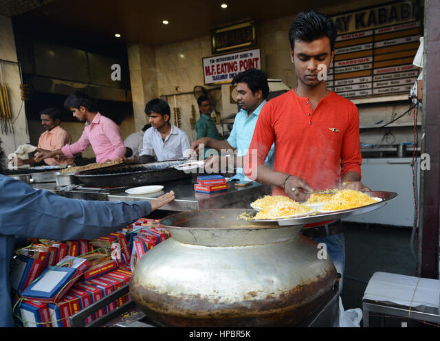 Lucknow style of Biryani served in the popular Tunday Kababi restaurant in the old city of Lucknow, UP, India. - Stock Image