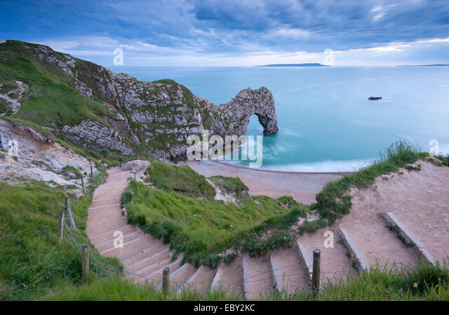 Steps leading down to Durdle Door on the Jurassic Coast, Dorset, England.  Summer (June) 2014. - Stock Image