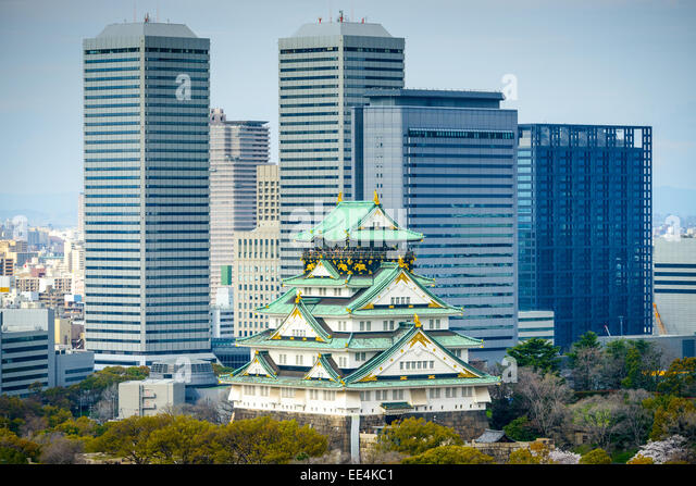 Osaka, Japan cityscape at the Castle. - Stock Image
