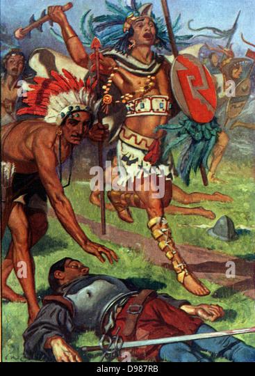Aztec warriors attack the fleeing Spaniards. - Stock Image