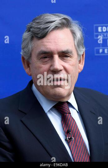 Former UK Prime Minister Mr. Gordon Brown appears at the Edinburgh International Book Festival. - Stock Image