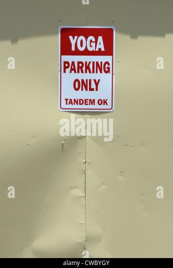 Yoga Studio Parking SIgn - Stock Image