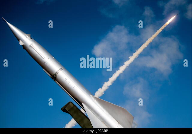 Astrakhan Region, Russia. 5th Aug, 2017. An RM-75 Armavir target missile (front) and a surface-to-air missile launched - Stock Image