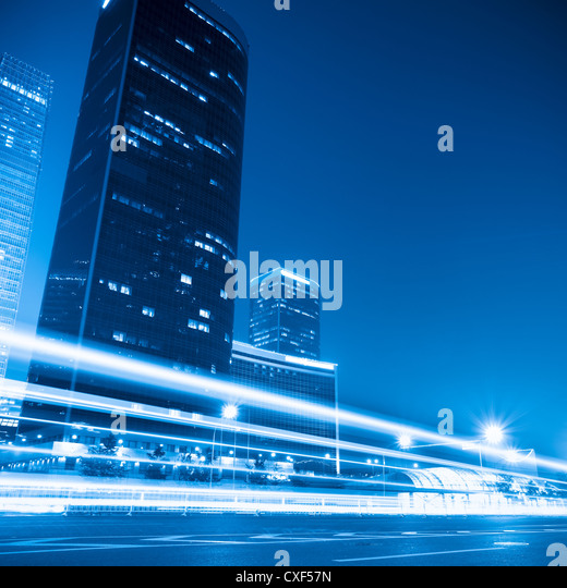 modern cityscape at night  in beijing - Stock Image